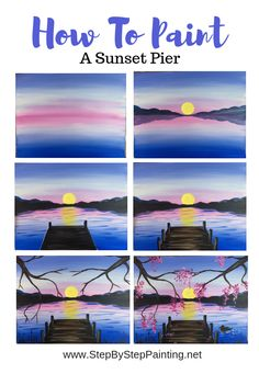 Easy Canvas Art, Simple Canvas Paintings, Easy Canvas Painting, Painting Art, Sunset Acrylic Painting, Acrylic Canvas, Pour Painting, Lake Painting, How To Paint Canvas