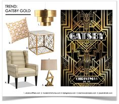 Gatsby Gold I Home Decor Trends    Glamorous Gold & Art Deco Motifs Inspired by The Great Gatsby Movie coming out this December!