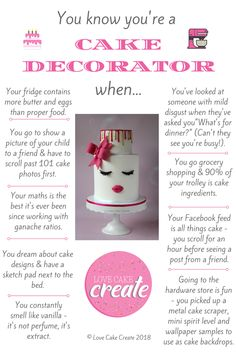 You know you're a cake decorator when: - by Love Cake Create Dessert Quotes, Cake Quotes, Baking Business, Cake Business, How To Use Fondant, Problem Quotes, Baking Quotes, Fondant Figures Tutorial, Cake Pricing