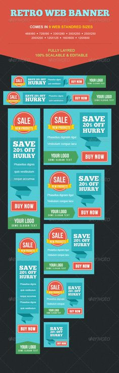 Colorful Retro Web Banner Set Template PSD | Buy and Download: http://graphicriver.net/item/colorful-retro-banner-set/5061807?WT.ac=category_thumb&WT.z_author=themeelite&ref=ksioks
