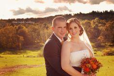Fall Wedding Photo, lots of background | Dina Godzik Photography