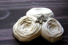 Rosette Hair Clip Bridal Very Light Ivory and Ivory by Brydferth, $50.00