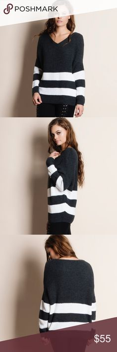 """Two Stripe Knit Sweater Two striped charcoal knit sweater. Runs true to size. This is an ACTUAL PIC of the item - all photography done personally by me. Model is 5'9"""", 32""""-24""""-36"""" wearing the size small. NO TRADES DO NOT BOTHER ASKING. PRICE FIRM. Bare Anthology Sweaters Crew & Scoop Necks"""