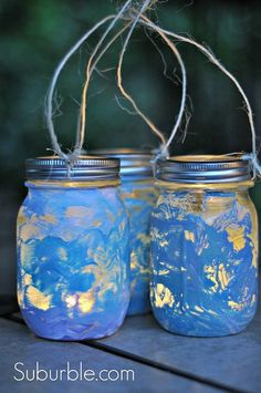 Admire your beautiful lantern collection. If your kidlets have made their own lanterns, use a battery operated tea-light in their jars.