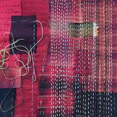 New Boro inspired Poppet bag in the making. Hope to have ready for #craftandquiltfair #craftandquiltfairsydney. Red Japanese yarn dyed fabrics…
