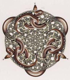 Snakes is een houtsnede van de Nederlandse kunstenaar M. C. Escher. Het werk werd voor het eerst gedrukt in juli 1969 en was de laatste afdruk van Escher voor zijn dood. Contemporary Artists, Happy New, Inspiration, Dood, Jewelry, Was, Drugs, Imagination, Google
