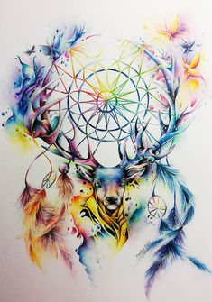Kolorowo by chemicznaxd on DeviantArt Dream Catcher Art, Dream Catcher Tattoo, Watercolor Animals, Watercolor Paintings, Animal Drawings, Art Drawings, Animals Tattoo, Dreamcatcher Wallpaper, Deer Art