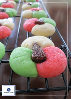 These festive cookies are perfect for your holiday cookie swap. They are a light and buttery cookie with a hint of almond flavor. A dried strawberry is the perfect addition to this cookie. A delicious tangy jewel.