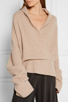 The Row - Fontaine wrap-effect brushed cashmere-blend sweater bbfc56401