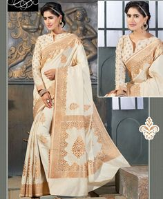 Buy Enticing Beige Silk Sarees online at  https://www.a1designerwear.com/enticing-beige-silk-sarees-2  Price: $65.50 USD