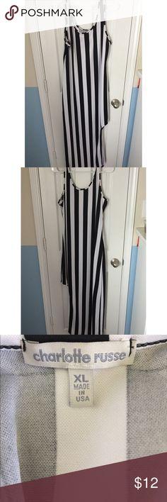 B&W Ninja Dress Black and white vertical stripe ninja dress Charlotte Russe Dresses Asymmetrical