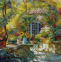 johan messely art | Green sunny garden from Johan Messely.