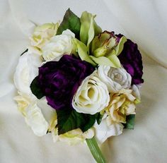 Modern Vineyard Purple Bridal bouquet with Green Orchid and Ivory.