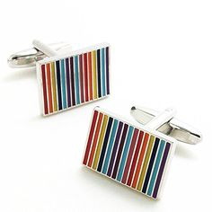 Covink Novelty Rainbow Rectangular Cufflinks 7 Colors Striped Cuff Button Multi Coloured with Gift Bag. Shape:Multi-Coloured Rectangular Striped Cufflinks. Any lady or men would love this piece as this can be her/his ultimate expression of their taste and style. Perfect gift for the new tech fans! Pair with any classic shirt and pull out similar or complementary hues in a shirt or tie. Great cufflinks for wedding, business, party, meeting occassions. Perfect gift for programmers...