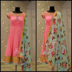 TS-DS- 526.Available . Beautiful pink color floor length anarkali dress with powder blue color floral dupatta.For orders/queriesCall/ whats app on8341382382 orMail  tejasarees@yahoo.com. 18 November 2017