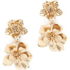 Oscar De La Renta Bold Flower Drop Earrings (1.020 RON) ❤ liked on Polyvore featuring jewelry, earrings, accessories, oscar de la renta earrings, drop earrings, earring jewelry, flower drop earrings and flower jewellery