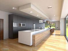 dream home design Open Plan Kitchen Living Room, Kitchen Room Design, Kitchen Cabinet Design, Modern Kitchen Design, Home Decor Kitchen, Interior Design Kitchen, Dream Home Design, House Design, Plafond Design