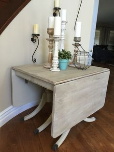 Duncan Phyfe drop leaf table in a new coat of chalk paint.