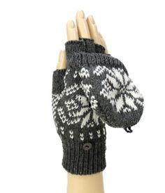 [Modadorn Texting Snow crystals Charcoal/Ivory Gloves With Mitten Cover]
