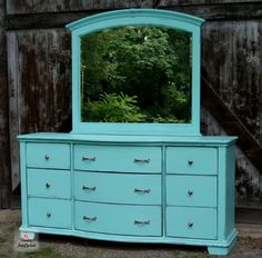 Aqua Dresser with Mirror by FunCycled  www.funcycled.com