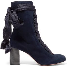 Chloé Lace-up suede ankle boots (€885) ❤ liked on Polyvore featuring shoes, boots, ankle booties, chloe, scarp, lace up high heel booties, lace up booties, block heel booties, suede booties and suede ankle booties
