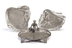CONTINENTAL | THREE ART NOUVEAU PEWTER FIGURAL DISHES, CIRCA 1900 Romantic Period, Most Romantic, Art Nouveau, Art Deco, Jugendstil Design, Antique Furniture, Pewter, Arts And Crafts, Heaven