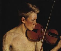 Viulunsoittaja (The Violinist), 1900 by Pekka Halonen on Curiator, the world's biggest collaborative art collection. Violin Painting, Artist Painting, Painting & Drawing, Beauty In Art, Male Beauty, Jules Cheret, National Gallery, Art Of Man, Men Art