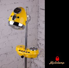 """Floor lamp in """"Yellow hot"""" color: it not only shines but also will warm your kids room or living room with its bright appearance! Motorcycle Headlight, Floor Lamps, Wood Signs, Arrow, Kids Room, Bright, Warm, Led, Living Room"""