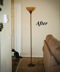 DIY rustic torchiere floor lamp makeover. You won't even recognize your cheap plastic floor lamp.   Stylish Western Home Decorating