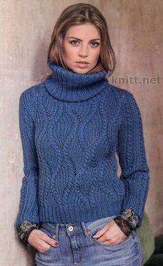 Пуловер синего цвета с фантазийным узором из волнистых кос и объемным воротником. Вы получите массу удовольствия от вязания этой модели. Размеры36/38 (40/42) Данные для размера 40/42 приведены в ск…