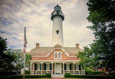 St Simons Island Lighthouse And Keepers Cottage - Joan Carroll  #stsimons #lighthouse #georgia