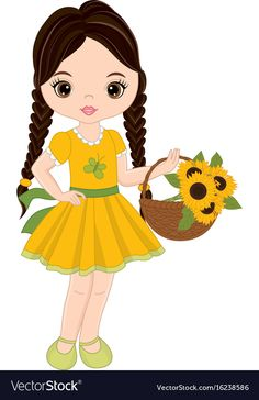 Cute little girl with basket of sunflowers Vector Image Little Girl Pictures, Cute Little Girls, Cartoon Girl Images, Girl Cartoon, Drawing Lessons For Kids, Girl Background, Baby Clip Art, Illustration Girl, Cute Images