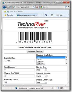 Add professional quality barcodes to ASP.NET applications with SmartCodeWebControl.