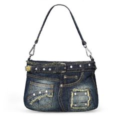 Lady Denim Handbag Fashion Casual Denim Bag Shoulder Messenger Handbag (Blue): Handbags: Amazon.com