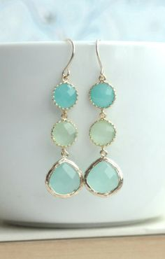 Shades of Mint Green Drop Dangle Earrings. Mint Opal