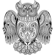Free Printable Owl Coloring Pages For Adults. Elephant Coloring Page, Owl Coloring Pages, Adult Coloring Book Pages, Free Coloring, Coloring Sheets, Coloring Books, Colorful Drawings, Colorful Pictures, Owl Wings