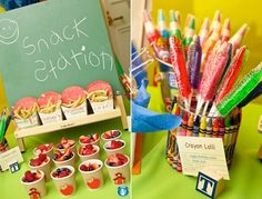 Back to School Party Ideas | Back to School Party Themes | Cute Crayon Jar Wrap Idea
