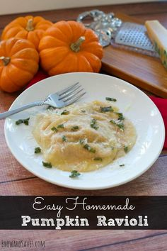 Delicious Pumpkin Ravioli Recipe. Made a luscious pumpkin ricotta filling and served with a sage brown butter sauce. The perfect 30 minute meal for the fall.