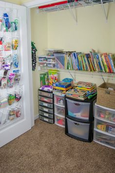 I just LOVE the idea of a  Homeschool Closet. It would keep everything in one place and organized. Also you have to watch the VIDEO tour such a great idea.