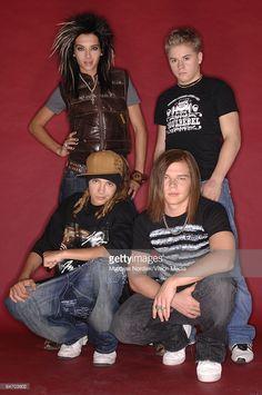 Guitarist Tom Kaulitz, singer Bill Kaulitz, guitarist Georg Listing and drummer Gustav Schaefer of German band 'Tokio Hotel' pose in a studio on January 17, 2007 in Berlin, Germany.