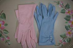 Vintage Ladies Dress Gloves 2 Pair Pink and Blue by strangenotions, $21.95