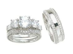 3 pieces mens womens his hers engagement wedding ring set hers sizes 5 - Matching Wedding Rings For Him And Her