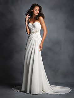 Alfred Angelo Style 2514: Dreamy strapless fit and flare chiffon wedding dress with a draped sweetheart neckline