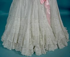 Antique Dress -1902-1905 RARE FANCY Slightly Trained Petticoat of Off-White Fine Cotton and Lace!