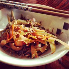 gobo kinpira with chopsticks
