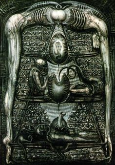 Alien hieroglyphics by H.R. Giger. These were originally intended to be seen in an alien pyramid or silo on the planet's surface, which the inhabitants used as a temple for their reproductive ceremonies involving the face-huggers. Thousands or millions of years later, the space-jockey would come upon eggs still in hibernation and become impregnated.  Later the beings in this hieroglyphic were altered to look more like the space jockey himself, to suggest that they were actually the same rac