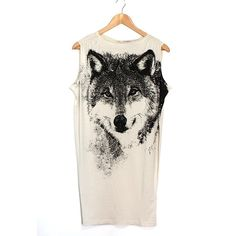 Wolf Printed Jersey Dress/Long Tee ($280) ❤ liked on Polyvore featuring tops, t-shirts, shirts, dresses, long t shirts, white t shirt, white crew neck t shirt, white tee and white shirt