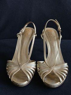 750bdfc7a Auturo Chiang Gold Metallic Sling Back Sandal Sz 7.5  fashion  clothing   shoes