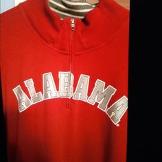 Victoria's Secret Pink Alabama 1/4 zip. Red with black print.  University of Alabama.  Roll Tide on the back neck collar.  Super soft material. Worn once. PINK Victoria's Secret Tops Sweatshirts & Hoodies