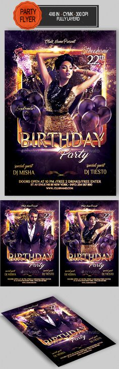 Birthday Party Flyer Template PSD. Download here: https://graphicriver.net/item/birthday-party/17559750?ref=ksioks